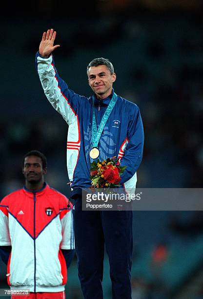 Olympic Games Sydney Australia Athletics Mens Triple Jump Final 25th September Great Britain's Johnathan Edwards celebrates his Gold Medal win on the...