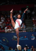 Olympic Games Sydney Australia Gymnastics Womens team event 19th September Dominique Dawes of the USA balances on the beam