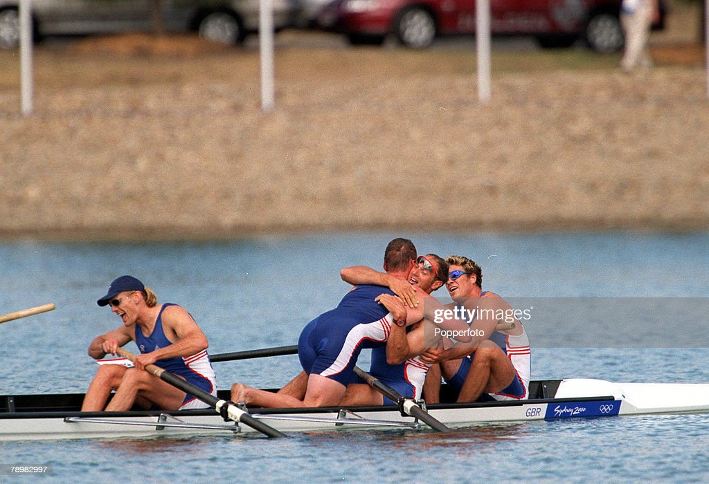 Olympic Games, Sydney, Australia, Rowing, Men's Coxless Fours Final, 23rd September, 2000, Steven Redgrave is hugged by Matthew Pinsent as the Great Britain team win the gold medal, Redgrave made olympic history when he became the first person to win five gold medals in consecutive games