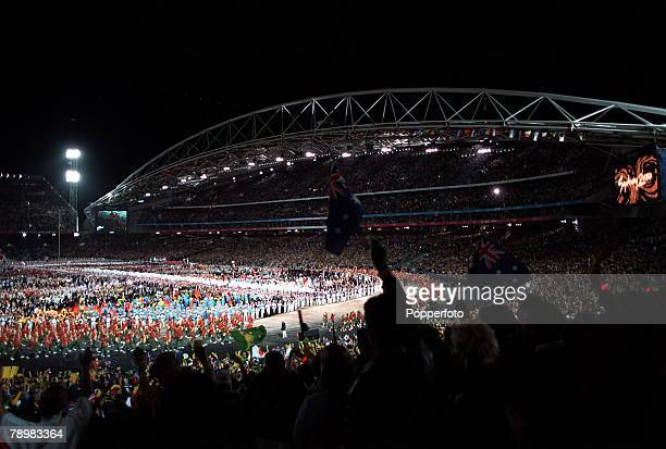 Olympic Games Sydney Australia The Opening Ceremony 15th September Crowds watch the teams of all competing nations gather in the centre of the...