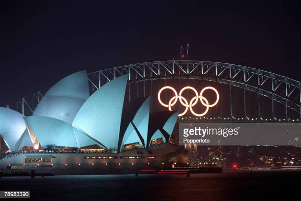 Olympic Games Sydney Australia The Opening Ceremony 15th September The Olympic rings visible on the Sydney Harbour Bridge with the floodlit Sydney...