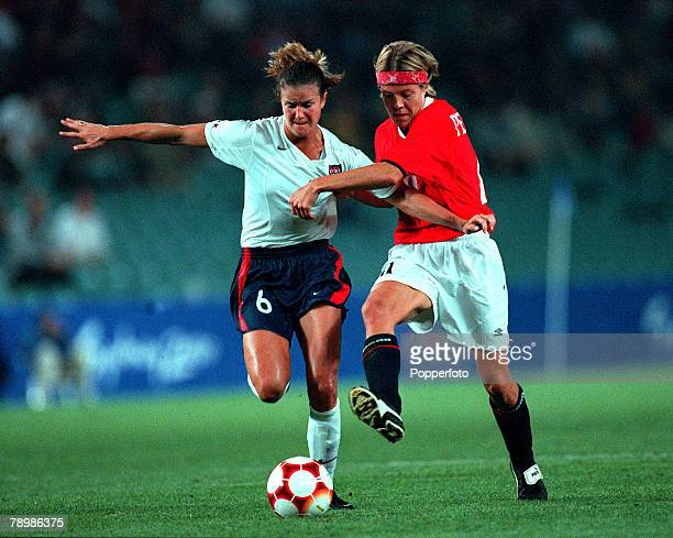 Olympic Games Sydney AustraliaWomens Football Final 28th September Norway beat USA 32 on Golden goal rule Norway's Hege Riise challenges Brandi...