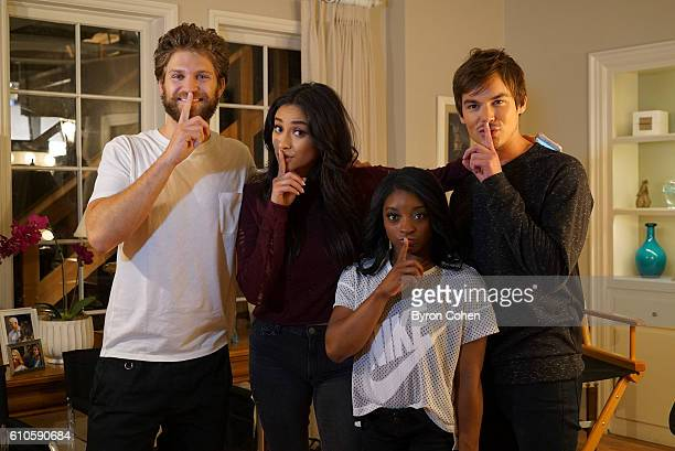 Olympic gold medal gymnast Simone Biles visits the set of 'Pretty Little Liars'' KEEGAN
