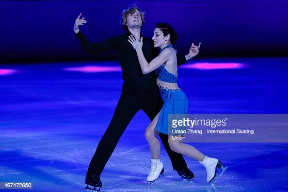 Olympic Gold Medal Ice Dancing champions Meryl Davis and Charlie White of United States perform on the ice during the opening ceremony of the 2015...
