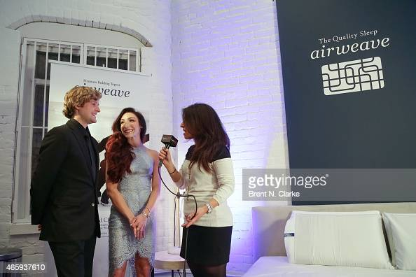 Olympic Gold Medal Ice Dancing champions Meryl Davis and Charlie White speak with the media during the Airweave Soho Store Opening at Airweave on...