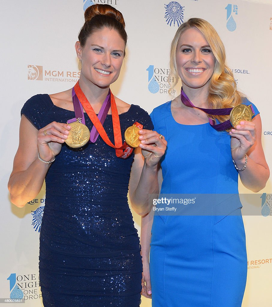 Olympic Gold Medal rowers <a gi-track='captionPersonalityLinkClicked' href=/galleries/search?phrase=Susan+Francia&family=editorial&specificpeople=761226 ng-click='$event.stopPropagation()'>Susan Francia</a> (L) and <a gi-track='captionPersonalityLinkClicked' href=/galleries/search?phrase=Esther+Lofgren&family=editorial&specificpeople=1017573 ng-click='$event.stopPropagation()'>Esther Lofgren</a> arrive at Cirque du Soleil's 2nd annual 'One Night for One Drop' at Aureole Las Vegas at the Mandalay Bay Resort and Casino on March 21, 2014 in Las Vegas, Nevada.