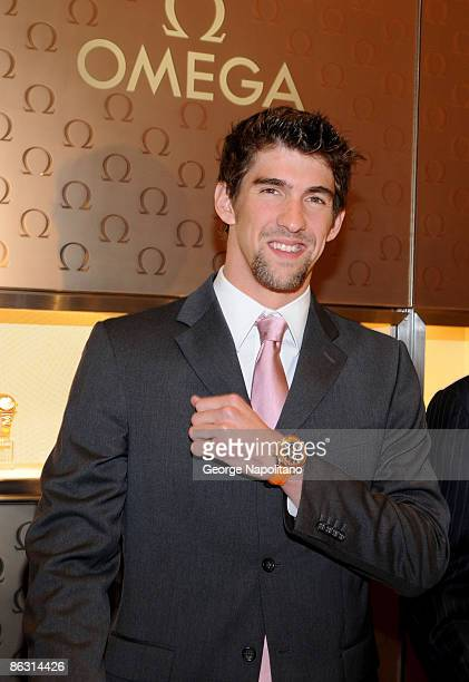 Olympic Gold Medal winner and author Michael Phelps attends the opening of the OMEGA flagship boutique on April 22 2009 in New York City