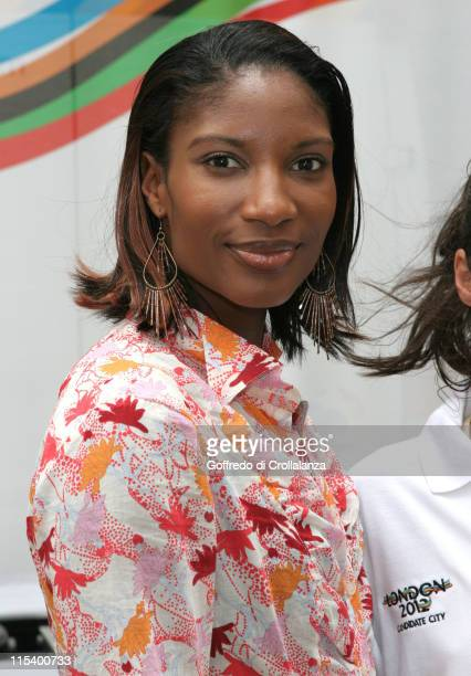 Olympic Gold Medal Winner Denise Lewis during BT And 2012 London Olympic Bid Photocall at BT Faraday Building in London Great Britain