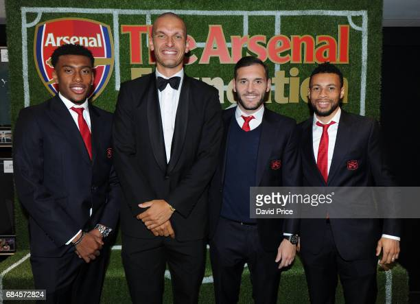 Olympic Gold Medal winner Moe Sbihi Alex Iwobi Lucas Perez and Francis Coquelin of Arsenal at the Arsenal Foundation Charity Ball 'A Night to...