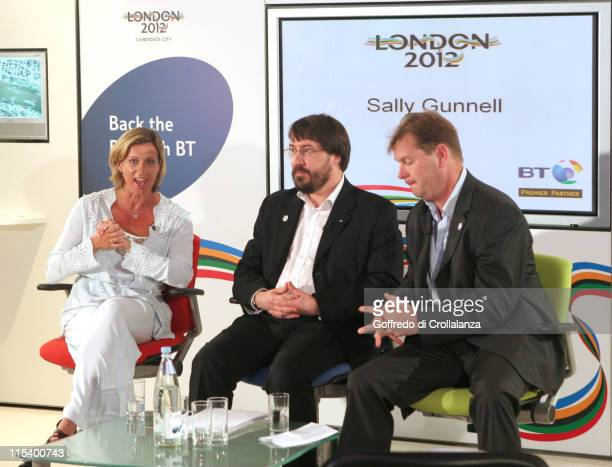 Olympic Gold Medal Winner Sally Gunnell BT Director Clive Ansell and Philip Beard Director of Corporate Relations for London 2012