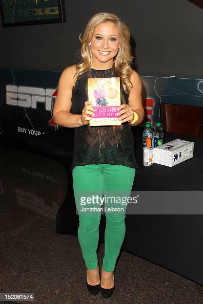 Olympic gold medal winner Shawn Johnson signs copies of her new book 'Winning Balance' at ESPN Zone At LA Live on September 15 2012 in Los Angeles...
