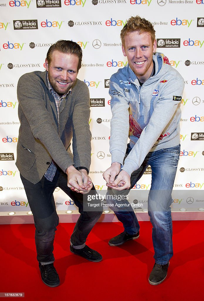 Olympic gold medal winners Jonas Reckermann (L) and Julius Brink attend the Ebay Pop-Up Store opening at Oranienburger Strasse on December 6, 2012 in Berlin, Germany.