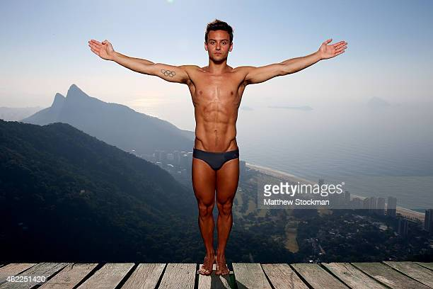 Olympic Gold Medal winning diver Tom Daley of Great Britain poses for a portrait during a break from training for the 2016 Rio Olympic Games at the...