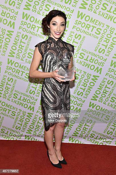 Olympic gold medal winning ice dancer Meryl Davis with the Sportswoman of the Year Award poses during the Women's Sports Foundation's 35th Annual...