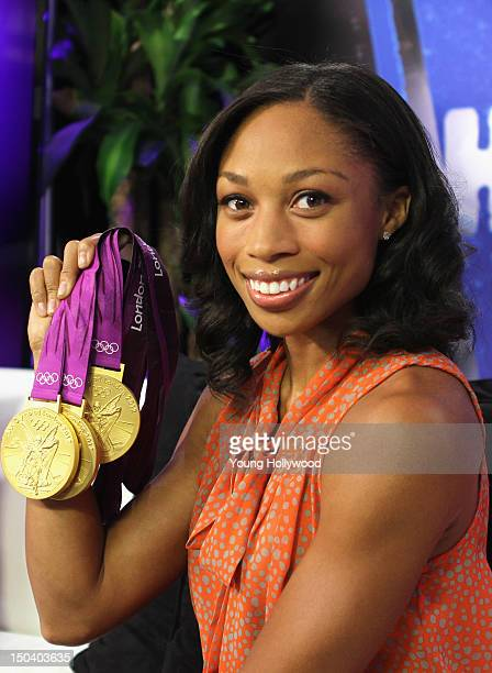 Olympic gold medalist Allyson Felix visits the Young Hollywood Studio on August 16 2012 in Los Angeles California