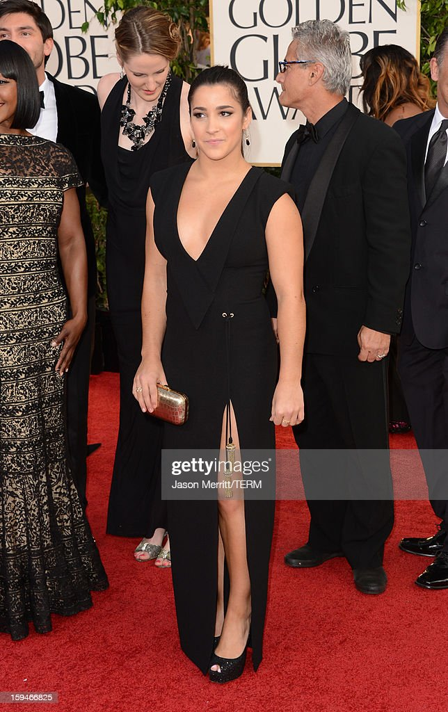 US Olympic gold medalist Aly Raisman arrives at the 70th Annual Golden Globe Awards held at The Beverly Hilton Hotel on January 13, 2013 in Beverly Hills, California.
