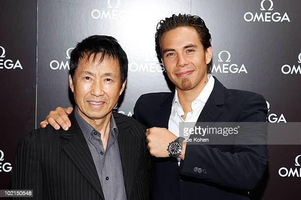 Olympic Gold Medalist Apolo Ohno and his father Yuki Ohno attend the OMEGA hosted father's day appearance at Omega Flagship Boutique on June 16 2010...