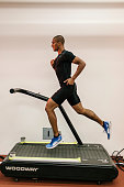 Olympic gold medalist Ashton Eaton is photographed on a warmup treadmill at the Nike Sports Research Lab for Wall Street Jornal Magazine on August 22...