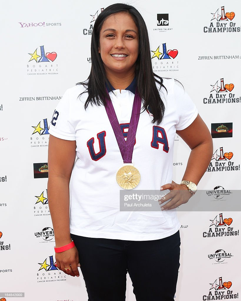 Olympic Gold Medalist <a gi-track='captionPersonalityLinkClicked' href=/galleries/search?phrase=Brenda+Villa&family=editorial&specificpeople=739666 ng-click='$event.stopPropagation()'>Brenda Villa</a> attends 'A Day Of Champions' benefiting the Bogart Pediatric Cancer Research Program at the Sports Museum of Los Angeles on October 21, 2012 in Los Angeles, California.