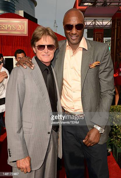Olympic Gold Medalist Bruce Jenner and NBA player Lamar Odom of the Los Angeles Clippers arrive at the 2012 ESPY Awards at Nokia Theatre LA Live on...