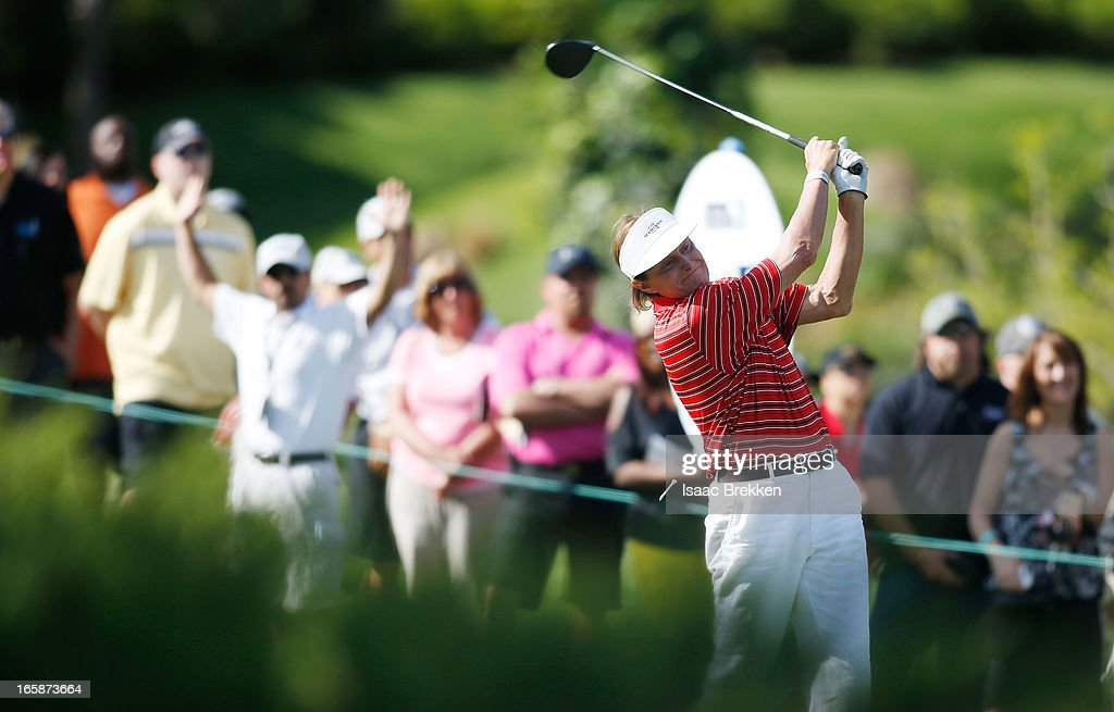 Olympic gold medalist Bruce Jenner hits a tee shot during ARIA Resort & Casino's Michael Jordan Celebrity Invitational golf tournament at Shadow Creek on April 6, 2013 in North Las Vegas, Nevada.