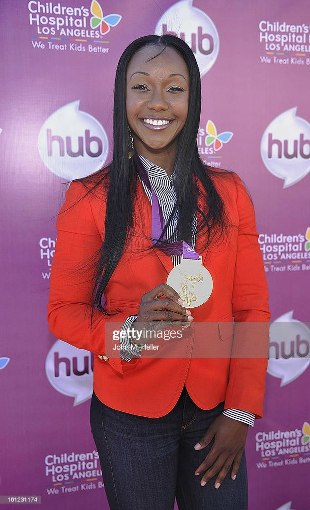 Olympic Gold Medalist <a gi-track='captionPersonalityLinkClicked' href=/galleries/search?phrase=Carmelita+Jeter&family=editorial&specificpeople=4472760 ng-click='$event.stopPropagation()'>Carmelita Jeter</a> arrives at the My Little Pony Coronation Concert at the Brentwood Theatre on February 9, 2013 in Los Angeles, California.