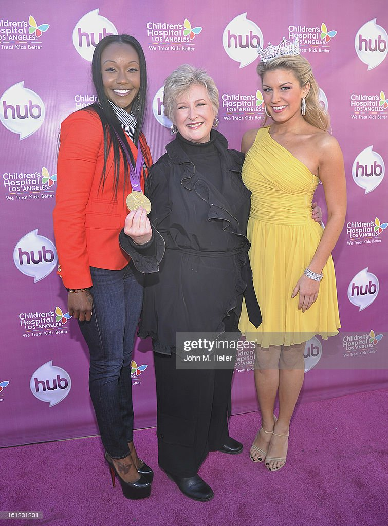 Olympic Gold Medalist <a gi-track='captionPersonalityLinkClicked' href=/galleries/search?phrase=Carmelita+Jeter&family=editorial&specificpeople=4472760 ng-click='$event.stopPropagation()'>Carmelita Jeter</a>, President and CEO The HUB TV Network Margaret Loech and Miss America 2013 Mallory Hagan arrive at the My Little Pony Coronation Concert at the Brentwood Theatre on February 9, 2013 in Los Angeles, California.
