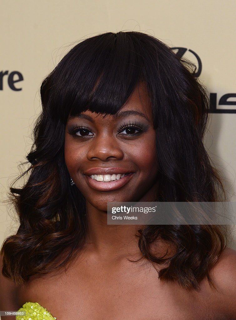 US Olympic gold medalist Gabby Douglas attends The Weinstein Company's 2013 Golden Globe Awards after party presented by Chopard, HP, Laura Mercier, Lexus, Marie Claire, and Yucaipa Films held at The Old Trader Vic's at The Beverly Hilton Hotel on January 13, 2013 in Beverly Hills, California.