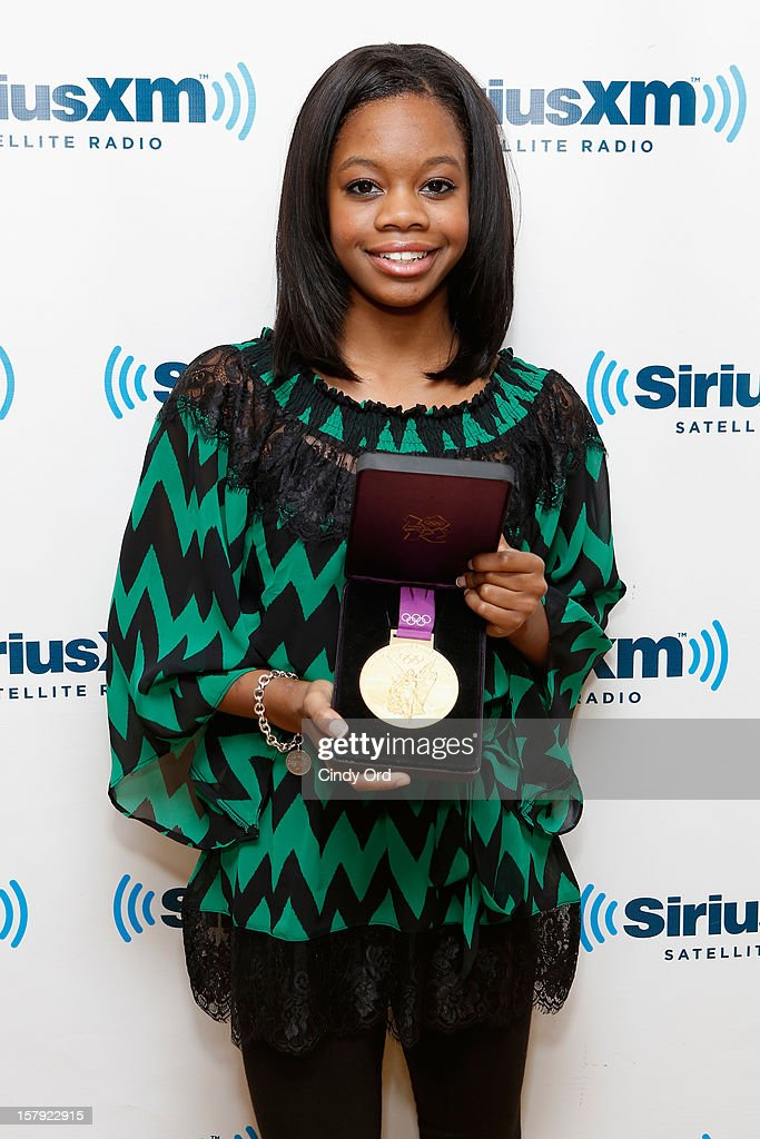 Olympic gold medalist <a gi-track='captionPersonalityLinkClicked' href=/galleries/search?phrase=Gabby+Douglas&family=editorial&specificpeople=8465211 ng-click='$event.stopPropagation()'>Gabby Douglas</a> visits the SiriusXM Studios on December 7, 2012 in New York City.