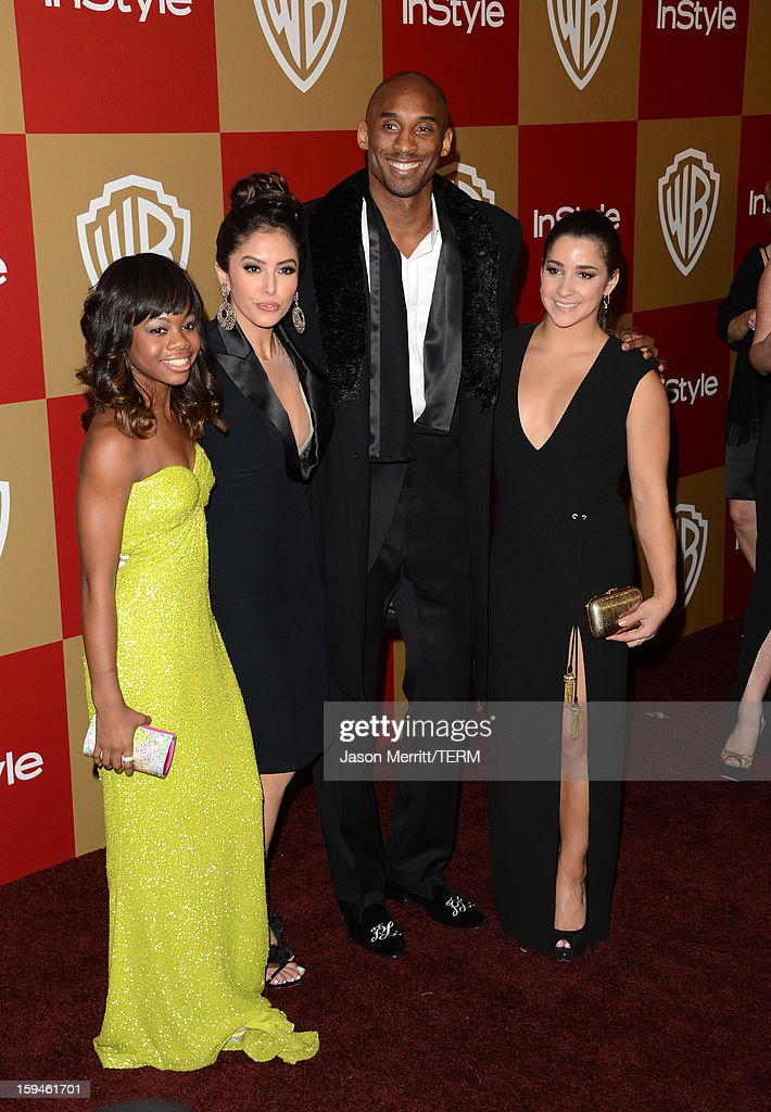 Olympic Gold medalist Gabrielle Douglas, Vanessa Bryant, basketball player Kobe Bryant, and US Olympic gold medalist Aly Raisman attend the 14th Annual Warner Bros. And InStyle Golden Globe Awards After Party held at the Oasis Courtyard at the Beverly Hilton Hotel on January 13, 2013 in Beverly Hills, California.