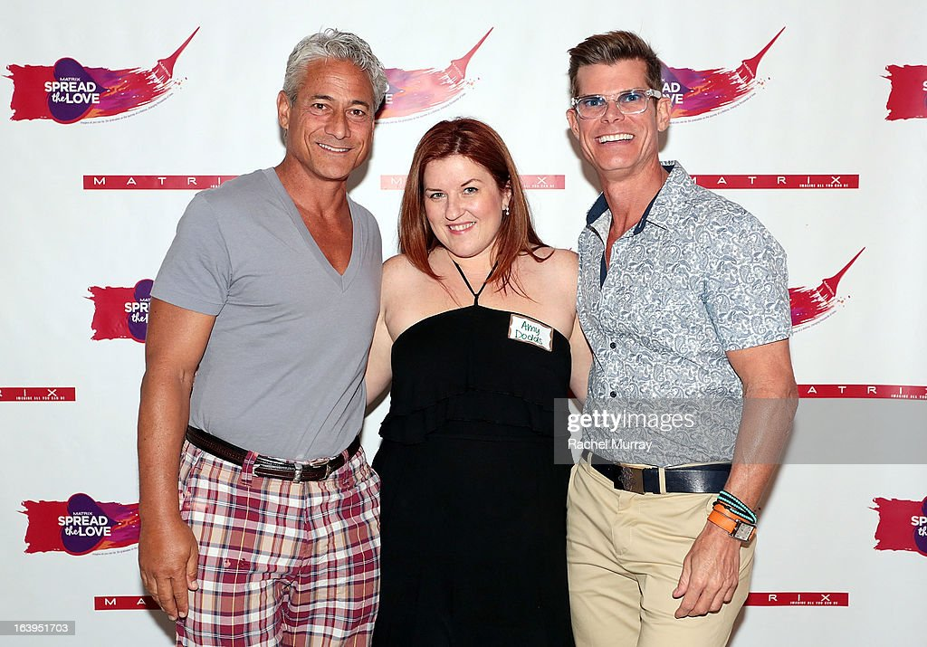 Olympic Gold Medalist Greg Louganis, Executive Editor Beauty Launchpad Magazine Amy Dodds, and Renowned Beverly Hills hairstylist Lenny Strand attend the Bash To Banish Bullying Benefiting It Gets Better, a Matrix Chairs Of Change Event - Day 1 at Saguaro Hotel on March 16, 2013 in Palm Springs, California.