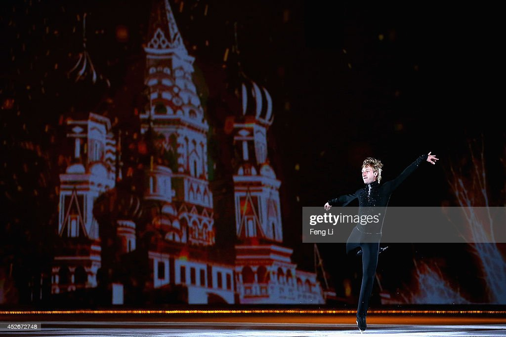 Olympic Gold medalist in figure skating Evgeni Plushenko performs during Artistry On Ice 2014 on July 25 2014 in Beijing China