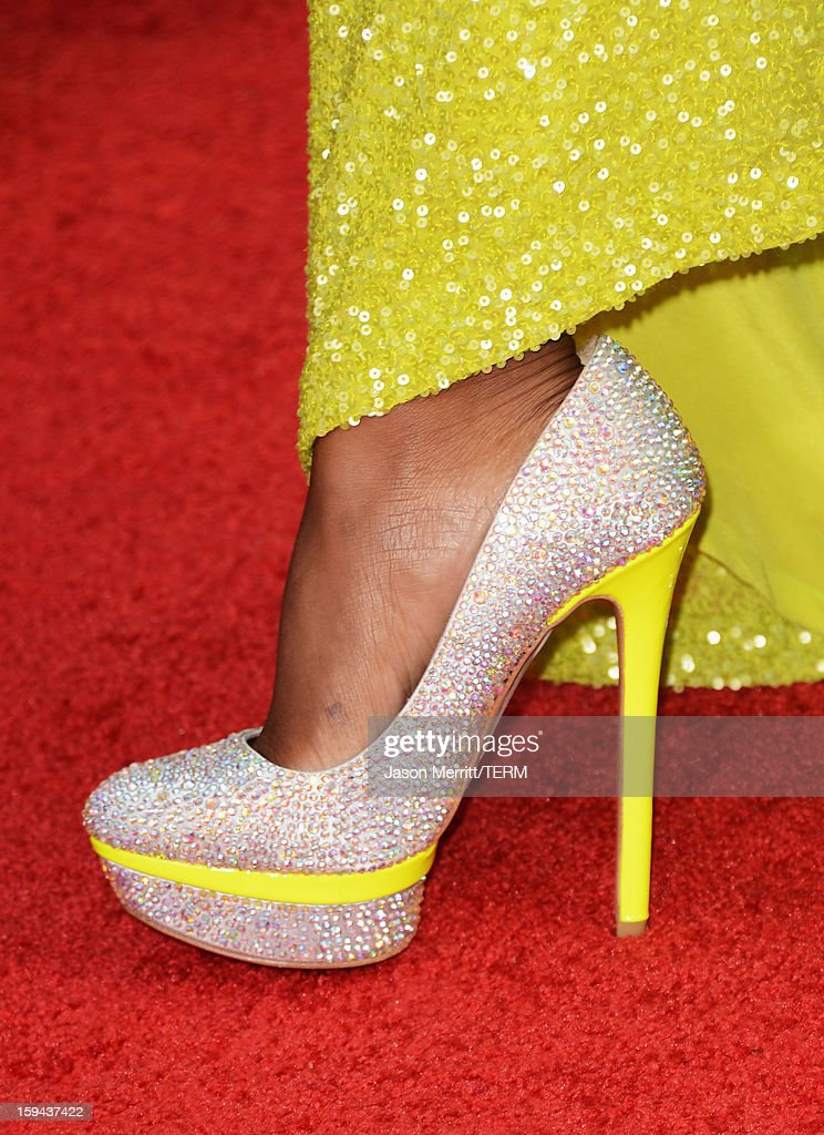 Olympic gold medalist in gymnastics Gabrielle Douglas (shoe detail) arrives at the 70th Annual Golden Globe Awards held at The Beverly Hilton Hotel on January 13, 2013 in Beverly Hills, California.