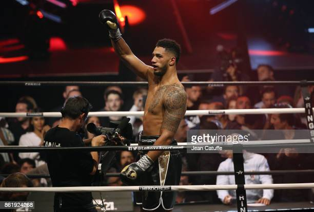 Olympic Gold medalist in Rio Tony Yoka of France celebrates beating Jonathan Rice of USA after a 6 round decision at boxing event called 'La...