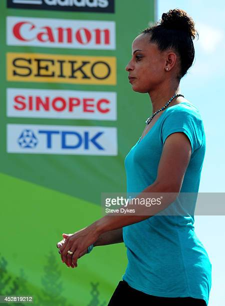 Olympic gold medalist Joanna Hayes is seen on the podium for the women's 4X100m hurdles medals ceremony during day six of the IAAF World Junior...