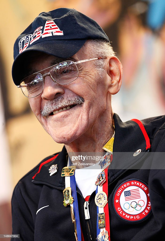 Olympic gold medalist Mal Whitfield attends the Team USA Road to London 100 Days Out Celebration in Times Square on April 18, 2012 in New York City.