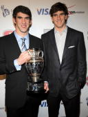 Olympic Gold Medalist Michael Phelps and pro football player Eli Manning attend the 2008 Sports Illustrated Sportsman of the Year award celebration...