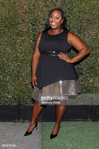 Olympic Gold Medalist Michelle Carter at the 68th Emmy Awards wearing ELOQUII at Microsoft Theater on September 18 2016 in Los Angeles California