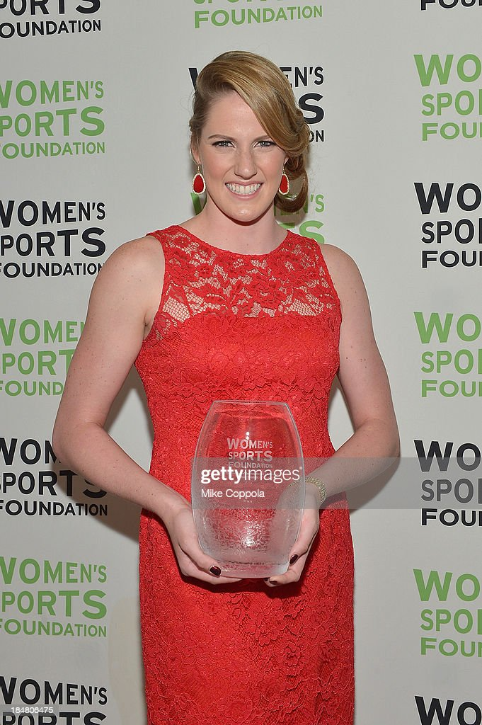 Olympic gold medalist <a gi-track='captionPersonalityLinkClicked' href=/galleries/search?phrase=Missy+Franklin&family=editorial&specificpeople=6623958 ng-click='$event.stopPropagation()'>Missy Franklin</a> with the Individual Sports Woman of the Year Award during the 34th annual Salute to Women In Sports Awards at Cipriani, Wall Street on October 16, 2013 in New York City.