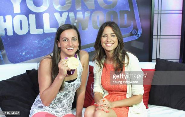 Olympic gold medalist Rebecca Soni and host Nikki Novak at the Young Hollywood Studio on August 30 2012 in Los Angeles California
