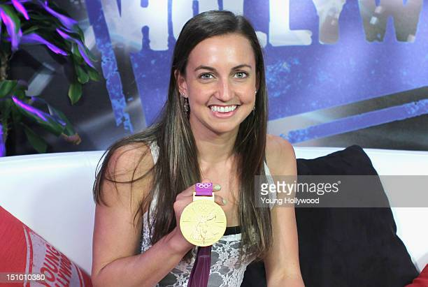 Olympic gold medalist Rebecca Soni visits the Young Hollywood Studio on August 30 2012 in Los Angeles California