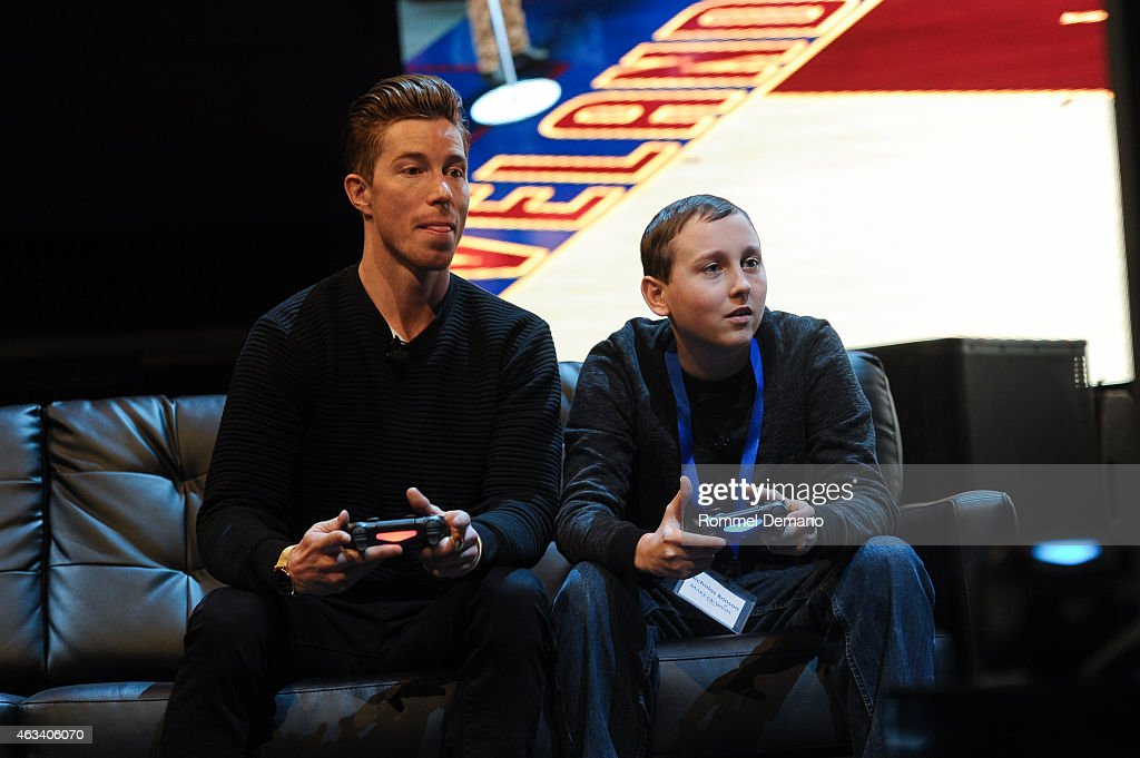 Olympic Gold Medalist <a gi-track='captionPersonalityLinkClicked' href=/galleries/search?phrase=Shaun+White+-+Snowboarder&family=editorial&specificpeople=247245 ng-click='$event.stopPropagation()'>Shaun White</a> and Nick Brinson attend the Playstation Special Announcement Event at Gotham Hall on February 13, 2015 in New York City.
