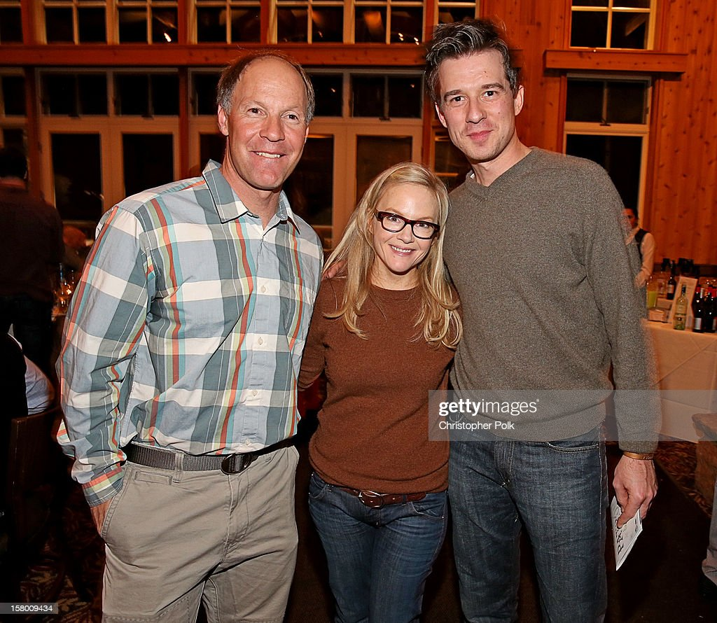 Olympic Gold Medalist Tommy Moe, actress <a gi-track='captionPersonalityLinkClicked' href=/galleries/search?phrase=Rachael+Harris&family=editorial&specificpeople=240713 ng-click='$event.stopPropagation()'>Rachael Harris</a> and friend attend the Deer Valley Celebrity Skifest at Deer Valley Resort on December 7, 2012 in Park City, Utah.