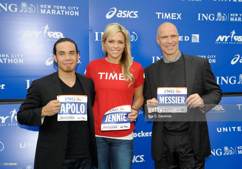 Olympic gold medalists Apolo Ohno Jennie Finch and former hockey player Mark Messier attend a press conference at Marathon Pavilion in Central Park...