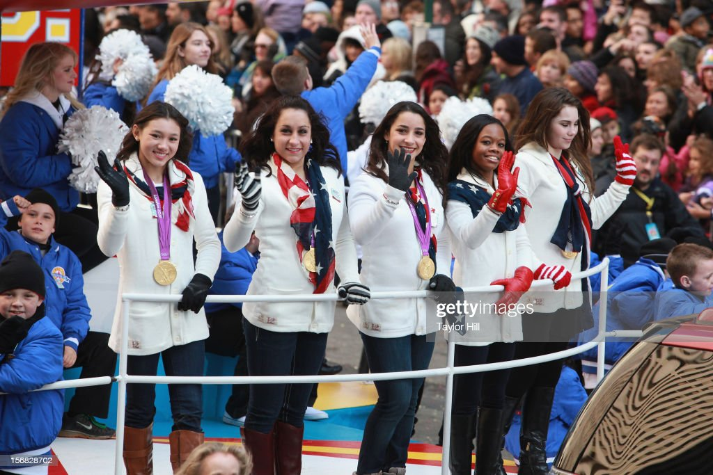 Olympic gold medalists in gymnastics <a gi-track='captionPersonalityLinkClicked' href=/galleries/search?phrase=Kyla+Ross&family=editorial&specificpeople=6920700 ng-click='$event.stopPropagation()'>Kyla Ross</a>, <a gi-track='captionPersonalityLinkClicked' href=/galleries/search?phrase=Jordyn+Wieber&family=editorial&specificpeople=5720749 ng-click='$event.stopPropagation()'>Jordyn Wieber</a>, Aly Raisman, Gabby Douglas, and <a gi-track='captionPersonalityLinkClicked' href=/galleries/search?phrase=McKayla+Maroney&family=editorial&specificpeople=7138673 ng-click='$event.stopPropagation()'>McKayla Maroney</a> ride in the 86th Annual Macy's Thanksgiving Day Parade on November 22, 2012 in New York City.
