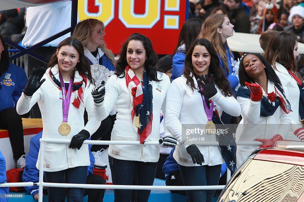 Olympic gold medalists in gymnastics Kyla Ross, Jordyn Wieber, Aly Raisman, Gabby Douglas and McKayla Maroney attend the 86th Annual Macy's Thanksgiving Day Parade on November 22, 2012 in New York City.