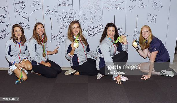 Olympic gold medalists Katelin Snyder Amanda Elmore Kerry Simmonds Amanda Polk and Emily Regan from the gold medal winning Women's Eight Olympic...