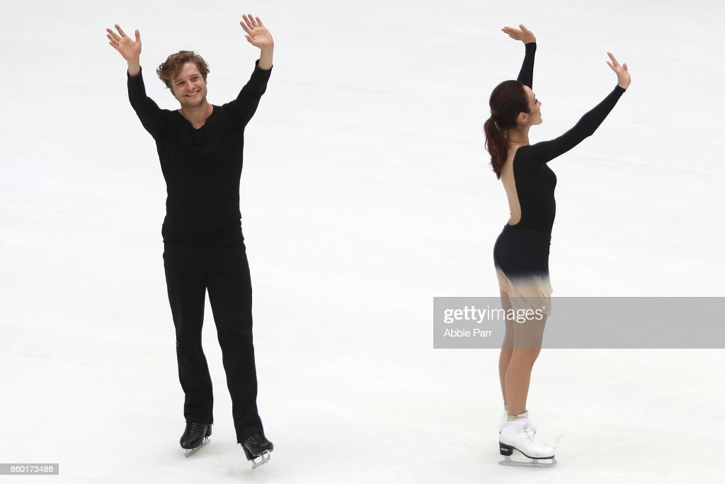 Olympic Gold Medalists Meryl Davis and Charlie perform the season's first skate at The Rink at Rockefeller Center on October 11, 2017 in New York City.