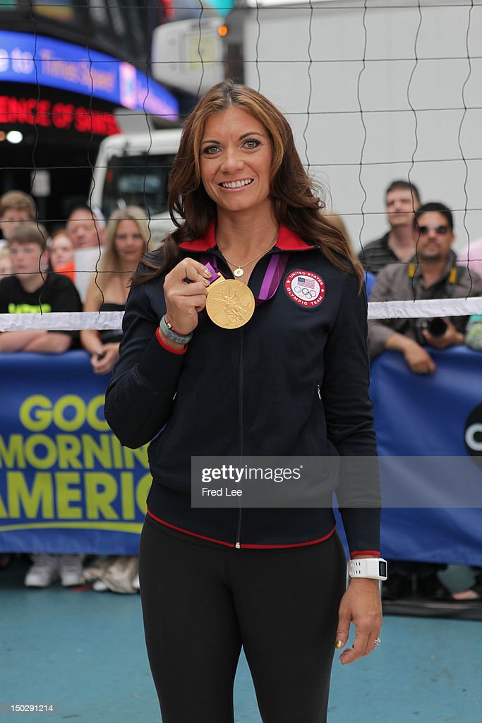 AMERICA Olympic gold medalists Misty MayTreanor and Dana Vollmer appear on 'Good Morning America' 8/14/12 airing on the ABC Television Network MISTY
