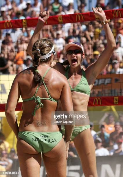 Olympic gold medalists Misty MayTreanor and Kerri Walsh celebrate their victory against Dianne DeNecochea and Tammy Leibl in the women's semifinals...